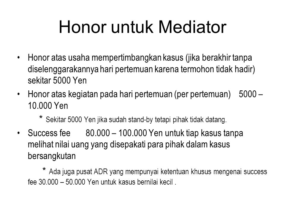 Honor untuk Mediator