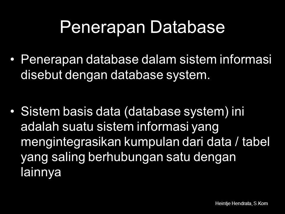 Penerapan Database Penerapan database dalam sistem informasi disebut dengan database system.