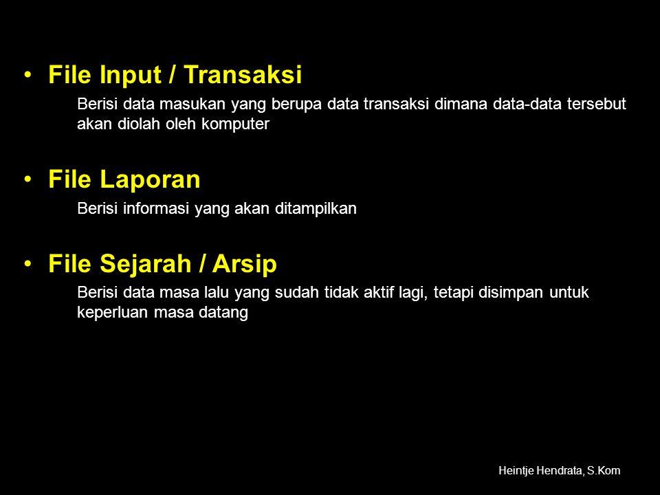File Input / Transaksi File Laporan File Sejarah / Arsip