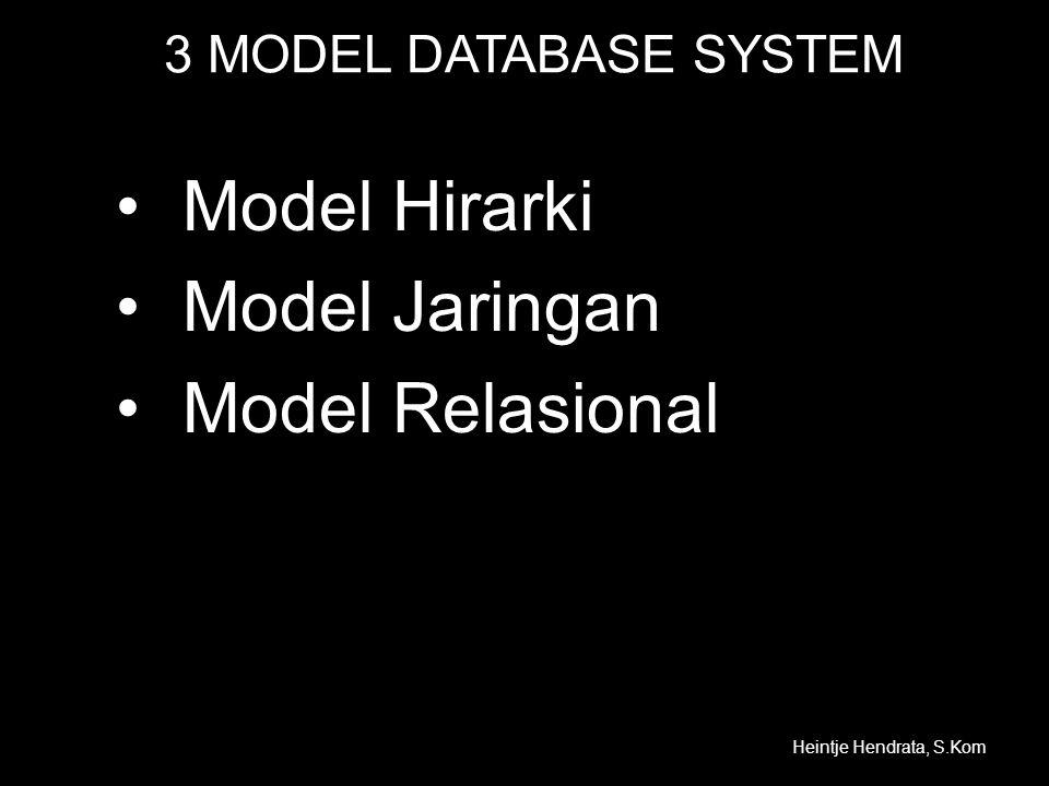 Model Hirarki Model Jaringan Model Relasional 3 MODEL DATABASE SYSTEM