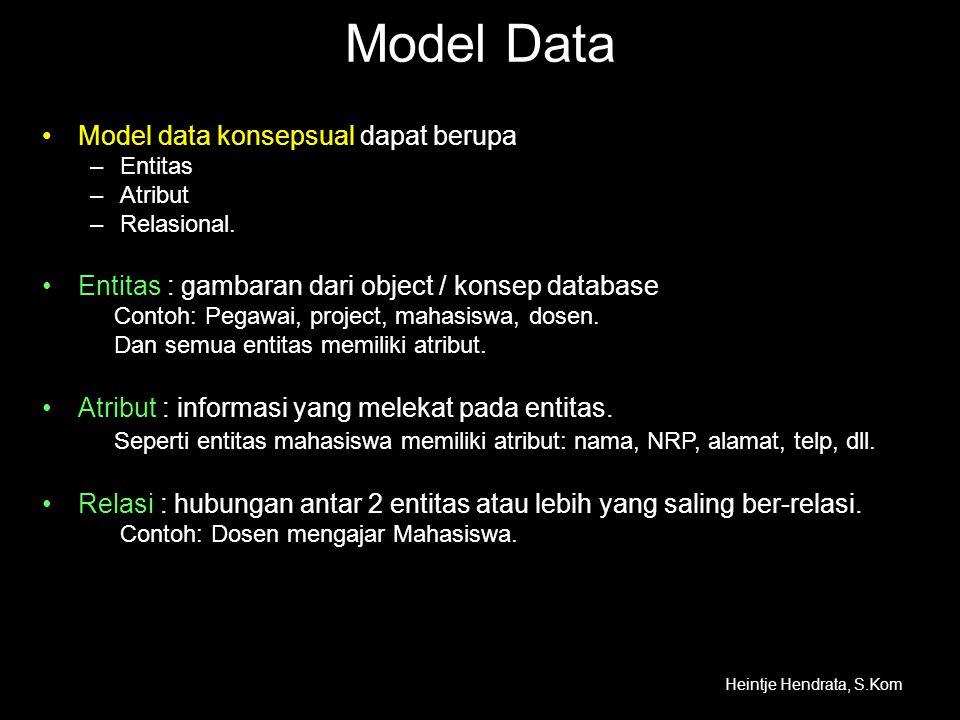 Model Data Model data konsepsual dapat berupa