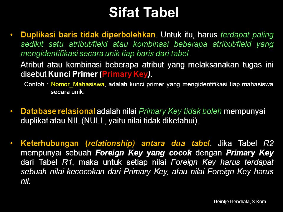 Sifat Tabel