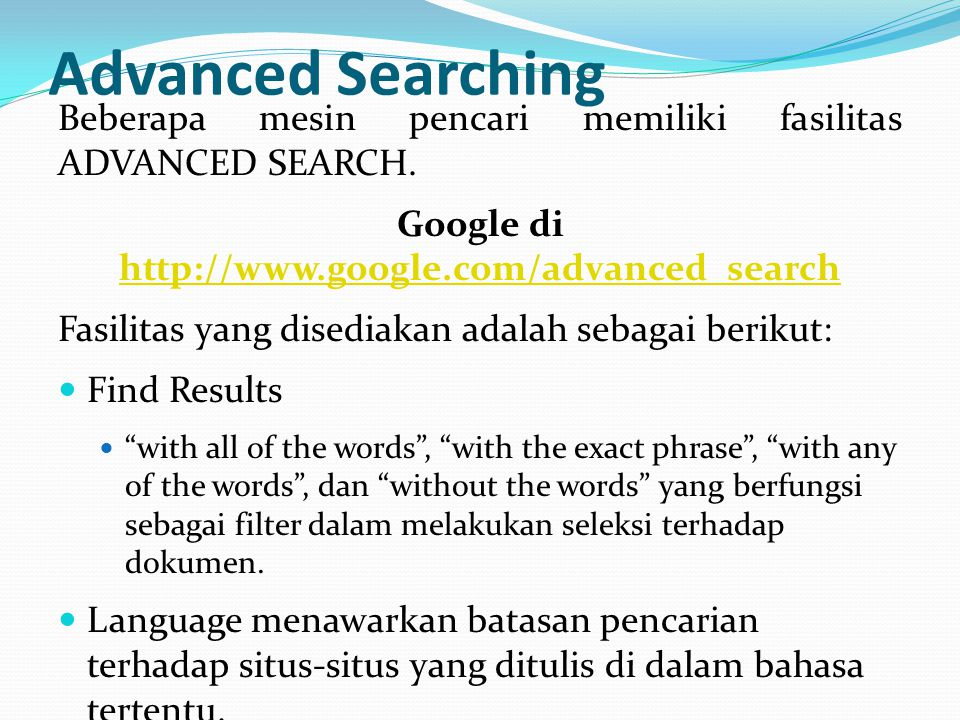 Google di http://www.google.com/advanced_search