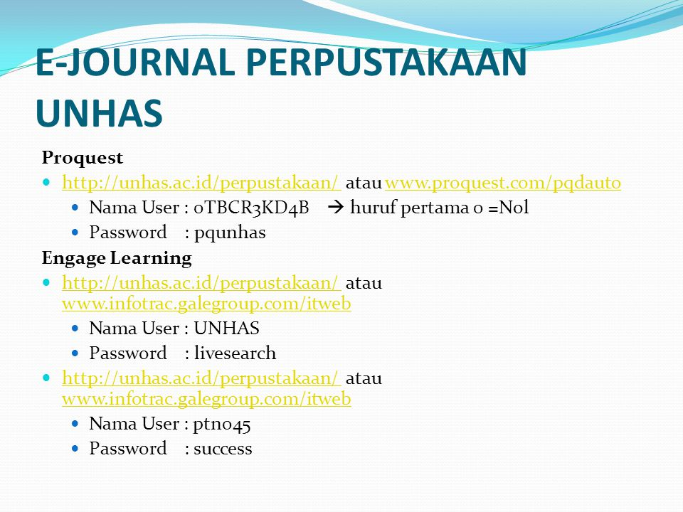 E-JOURNAL PERPUSTAKAAN UNHAS