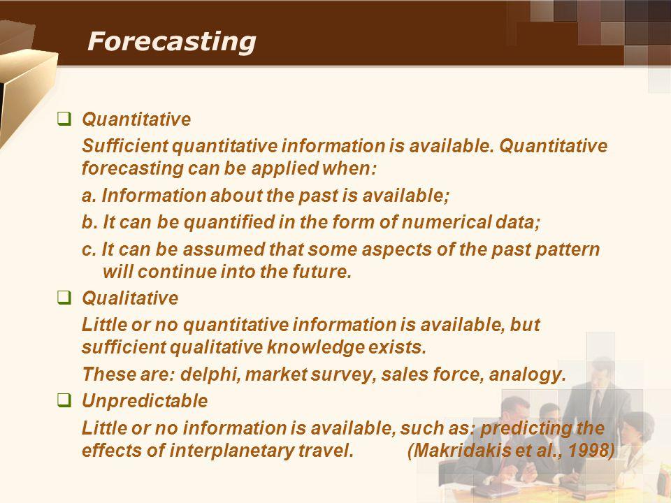 Forecasting Quantitative