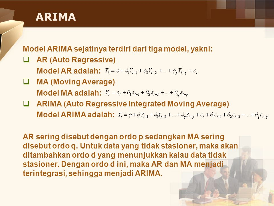 ARIMA Model ARIMA sejatinya terdiri dari tiga model, yakni: