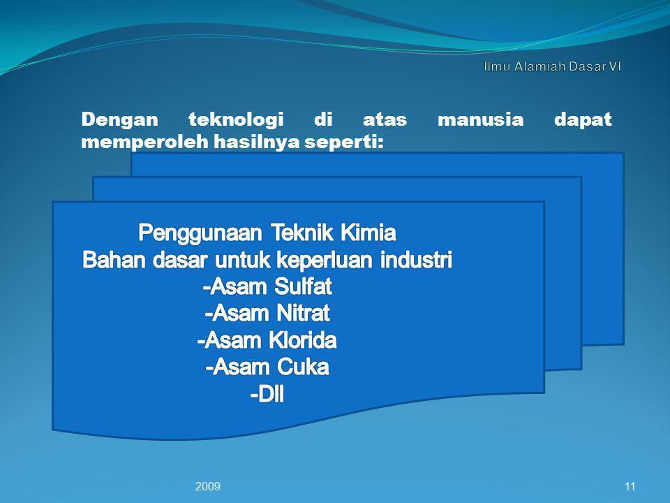 Dengan teknologi di atas manusia dapat memperoleh hasilnya seperti: