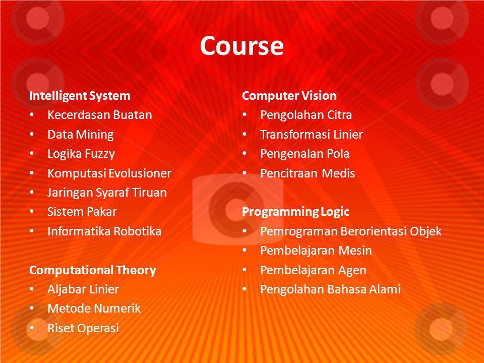 Course Intelligent System Computer Vision Kecerdasan Buatan