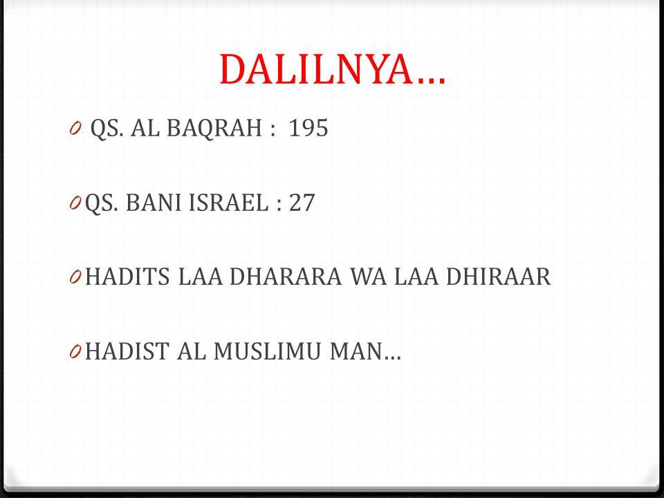 DALILNYA… QS. AL BAQRAH : 195 QS. BANI ISRAEL : 27