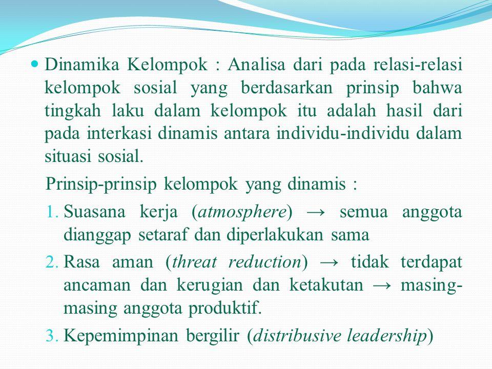 Dinamika Kelompok : Analisa dari pada relasi-relasi kelompok sosial yang berdasarkan prinsip bahwa tingkah laku dalam kelompok itu adalah hasil dari pada interkasi dinamis antara individu-individu dalam situasi sosial.