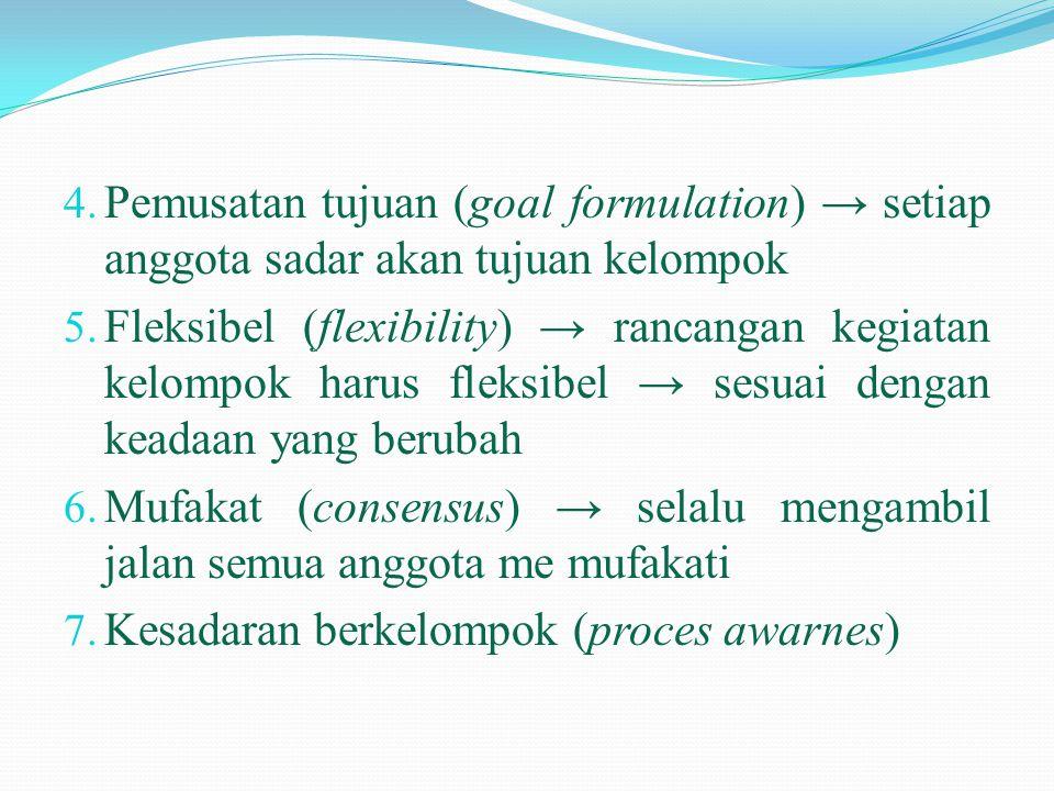 Pemusatan tujuan (goal formulation) → setiap anggota sadar akan tujuan kelompok