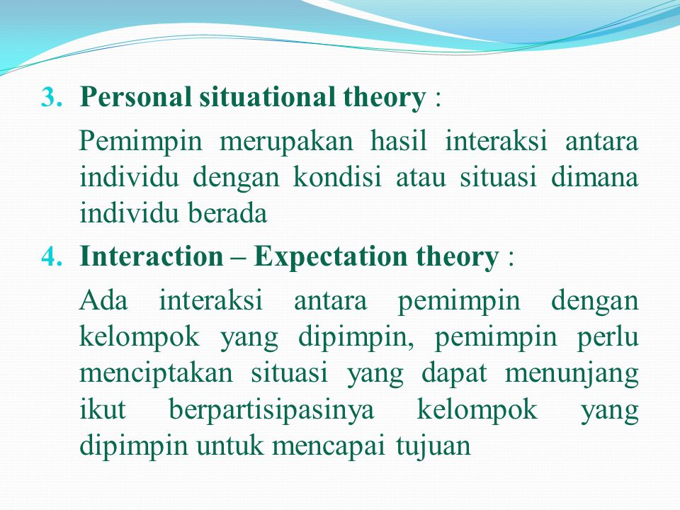 Personal situational theory :