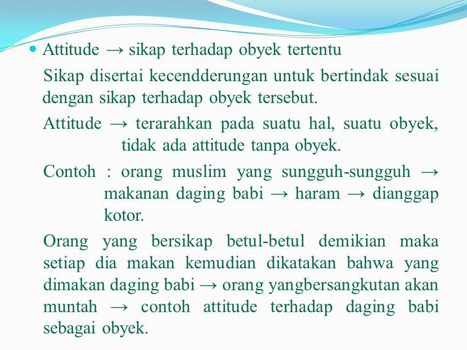 Attitude → sikap terhadap obyek tertentu