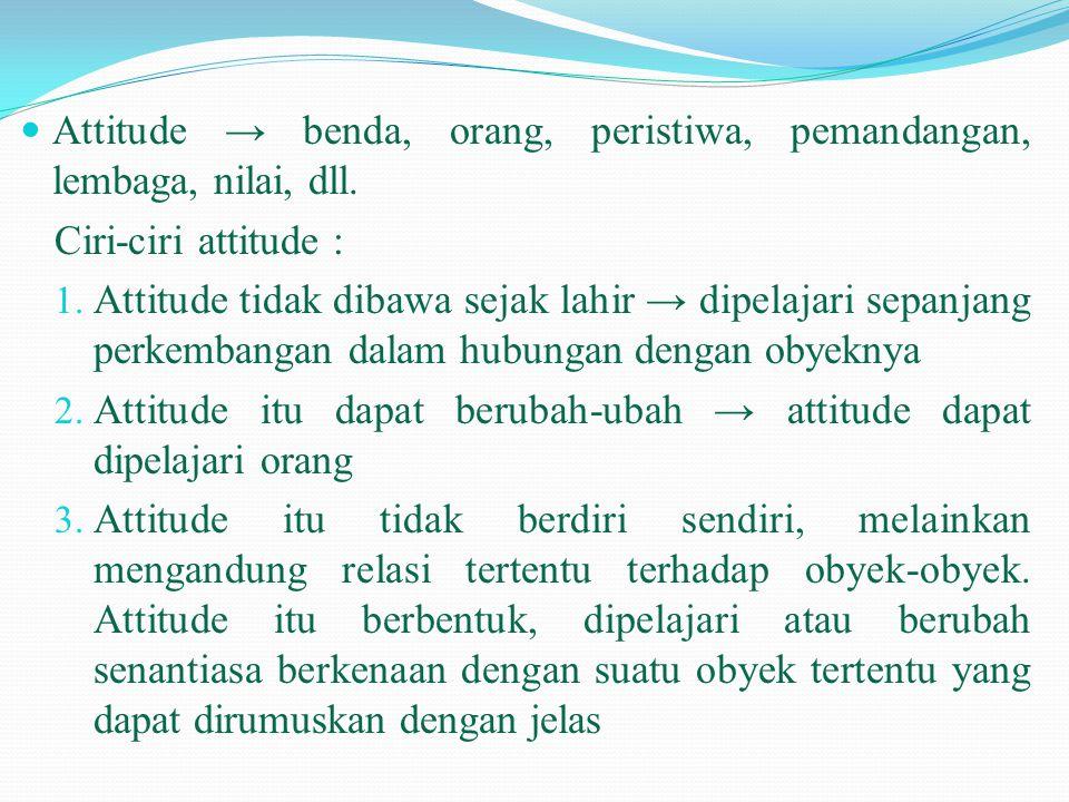 Attitude → benda, orang, peristiwa, pemandangan, lembaga, nilai, dll.