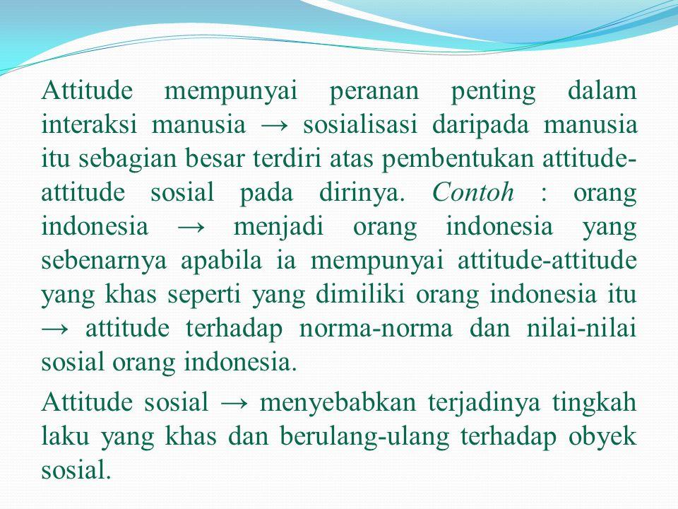 Attitude mempunyai peranan penting dalam interaksi manusia → sosialisasi daripada manusia itu sebagian besar terdiri atas pembentukan attitude-attitude sosial pada dirinya.