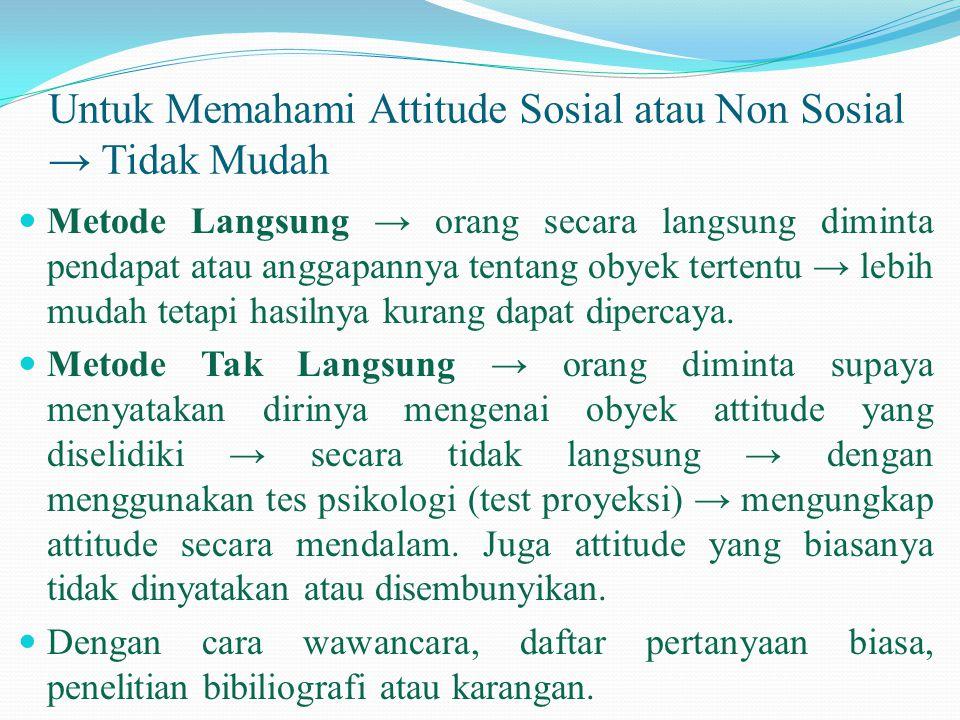 Untuk Memahami Attitude Sosial atau Non Sosial → Tidak Mudah