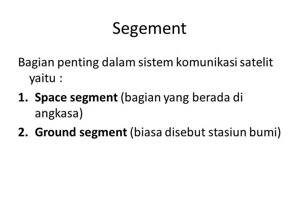Segement Bagian penting dalam sistem komunikasi satelit yaitu :