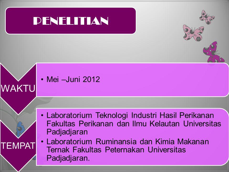 PENELITIAN WAKTU TEMPAT Mei –Juni 2012
