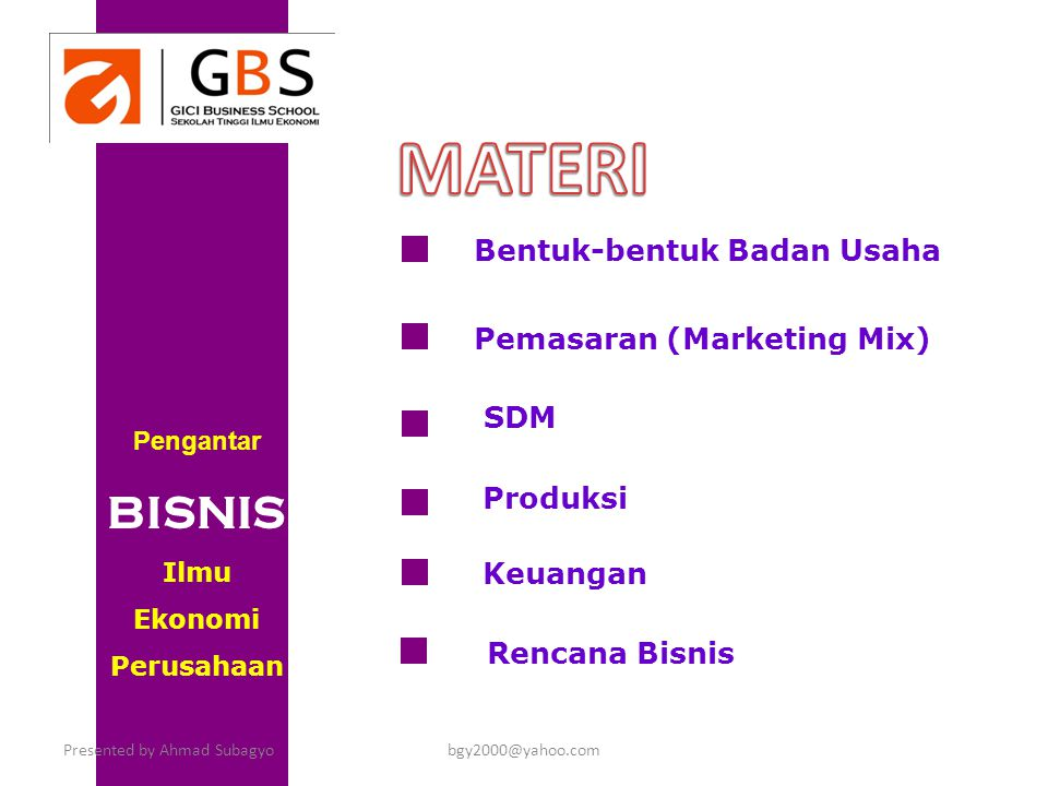 MATERI BISNIS Bentuk-bentuk Badan Usaha Pemasaran (Marketing Mix) SDM