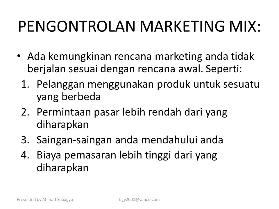 PENGONTROLAN MARKETING MIX: