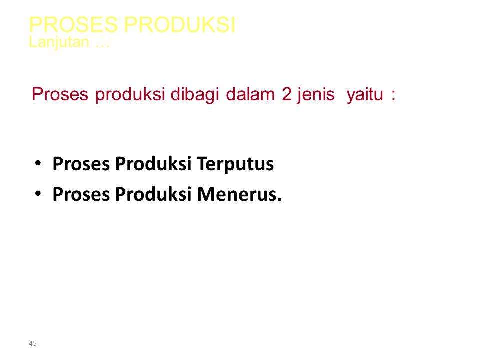Proses Produksi Terputus Proses Produksi Menerus.