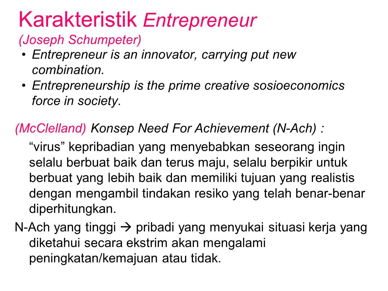 Karakteristik Entrepreneur (Joseph Schumpeter)