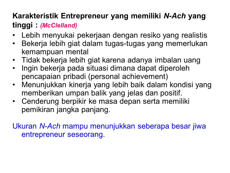 Karakteristik Entrepreneur yang memiliki N-Ach yang tinggi : (McClelland)