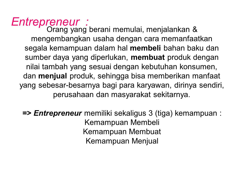 => Entrepreneur memiliki sekaligus 3 (tiga) kemampuan :