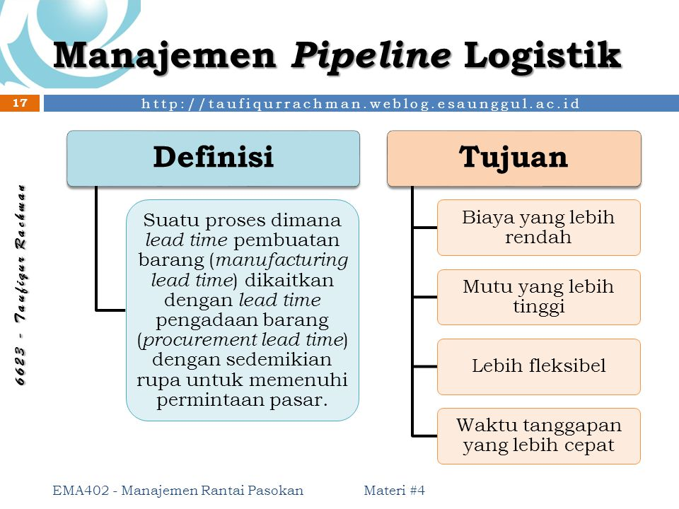 Manajemen Pipeline Logistik