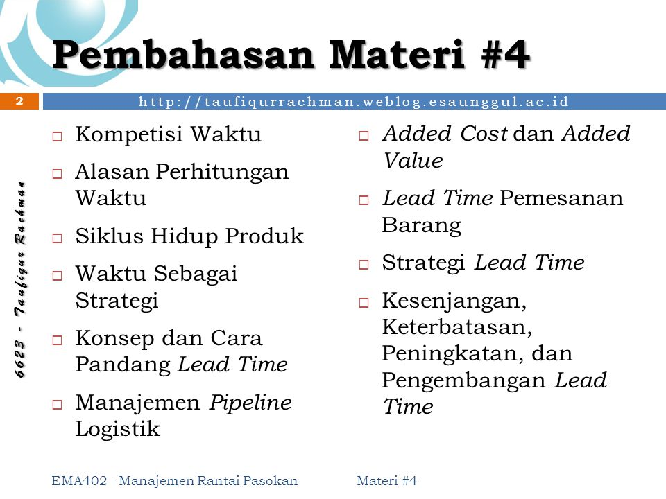 Pembahasan Materi #4 Kompetisi Waktu Added Cost dan Added Value