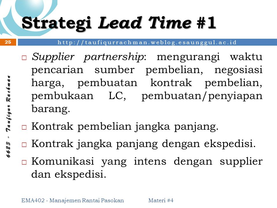 Strategi Lead Time #1