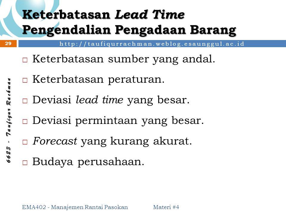 Keterbatasan Lead Time Pengendalian Pengadaan Barang