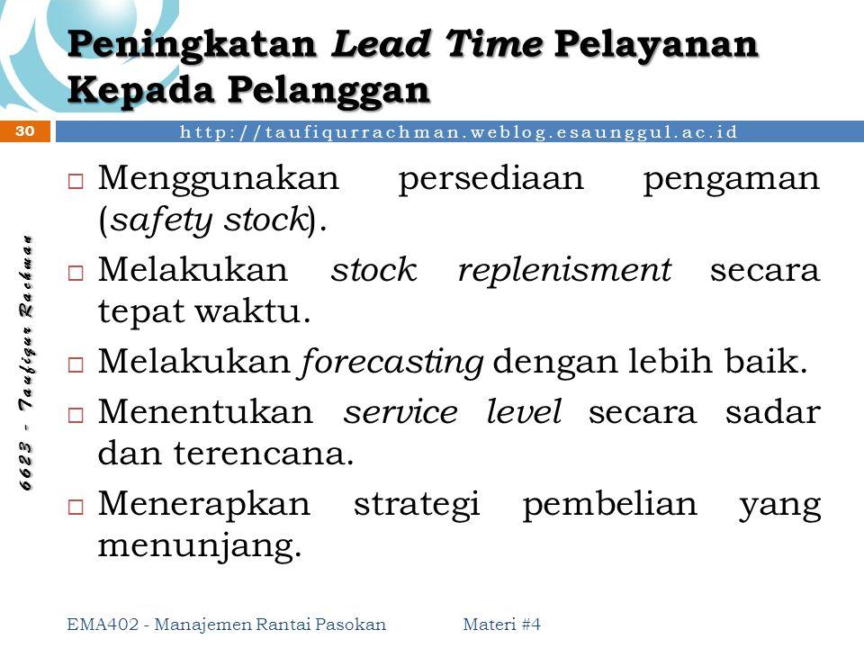 Peningkatan Lead Time Pelayanan Kepada Pelanggan