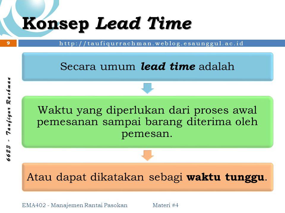 Konsep Lead Time Secara umum lead time adalah. Waktu yang diperlukan dari proses awal pemesanan sampai barang diterima oleh pemesan.