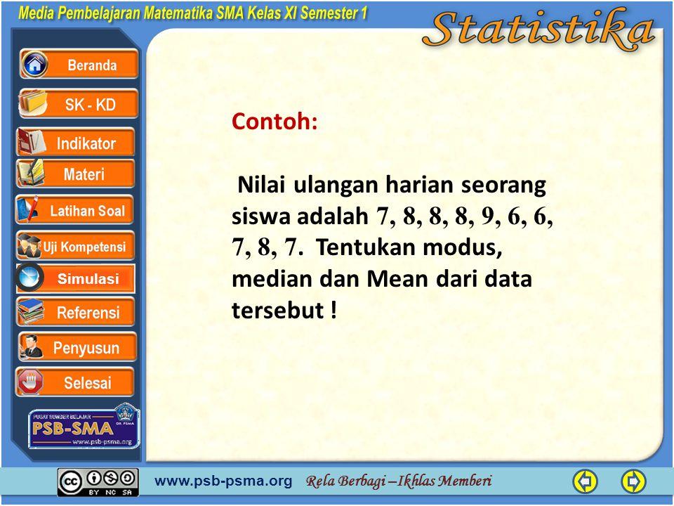 Contoh: Nilai ulangan harian seorang siswa adalah 7, 8, 8, 8, 9, 6, 6, 7, 8, 7.