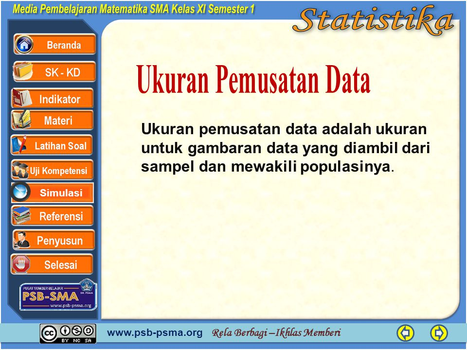 Ukuran Pemusatan Data Ukuran pemusatan data adalah ukuran untuk gambaran data yang diambil dari sampel dan mewakili populasinya.