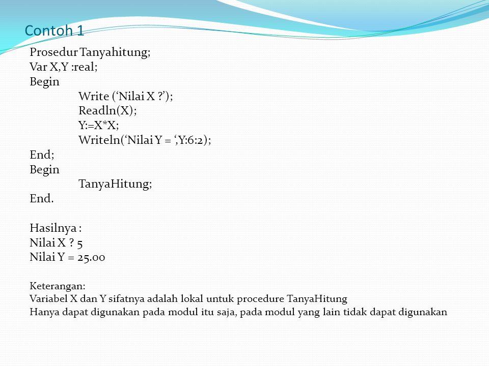 Contoh 1 Prosedur Tanyahitung; Var X,Y :real; Begin