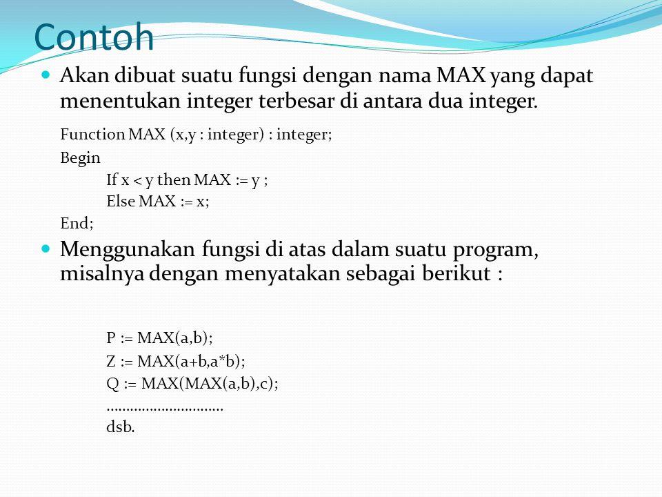 Contoh Function MAX (x,y : integer) : integer; P := MAX(a,b);