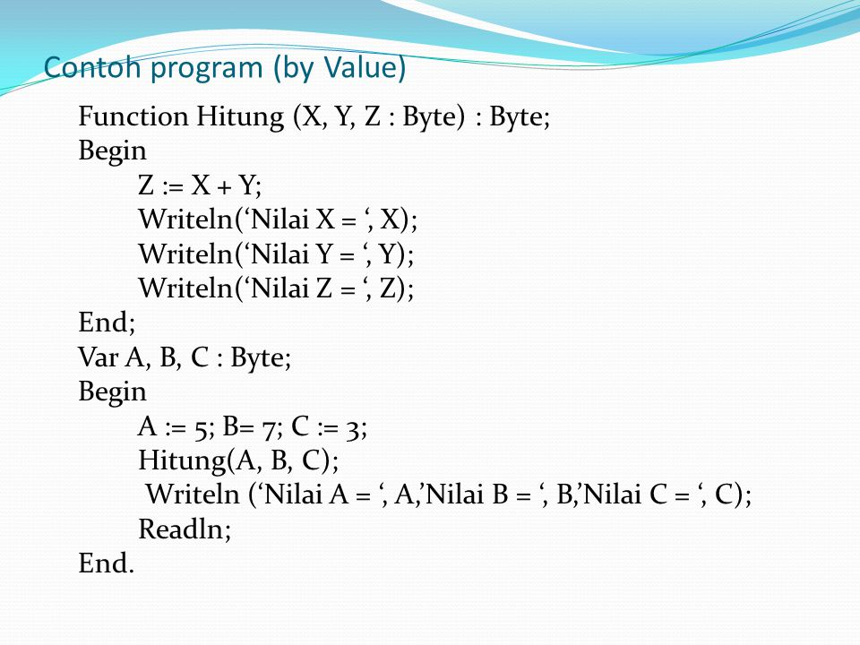 Contoh program (by Value)