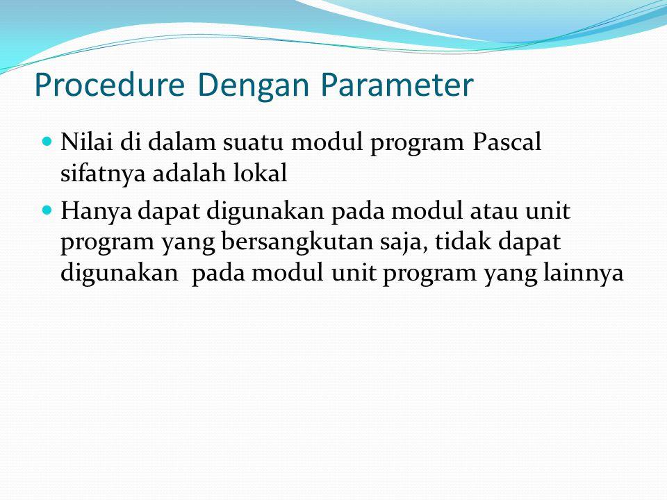Procedure Dengan Parameter