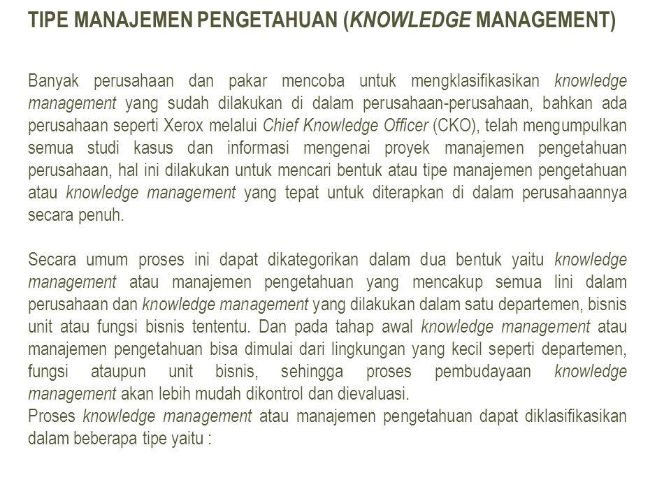 Tipe Manajemen Pengetahuan (Knowledge Management)
