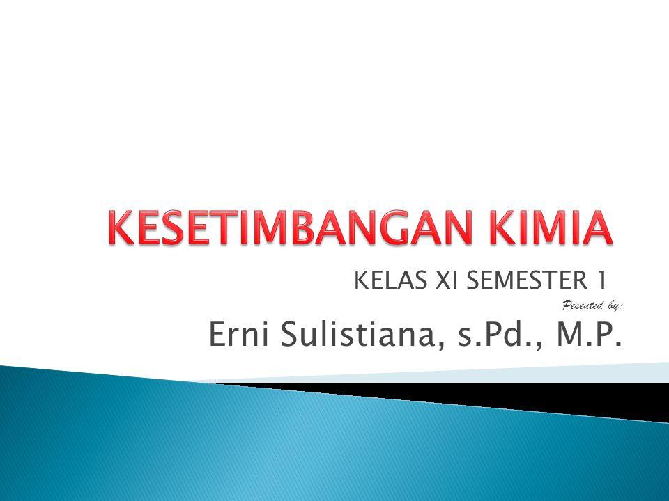 KESETIMBANGAN KIMIA Erni Sulistiana, s.Pd., M.P. KELAS XI SEMESTER 1