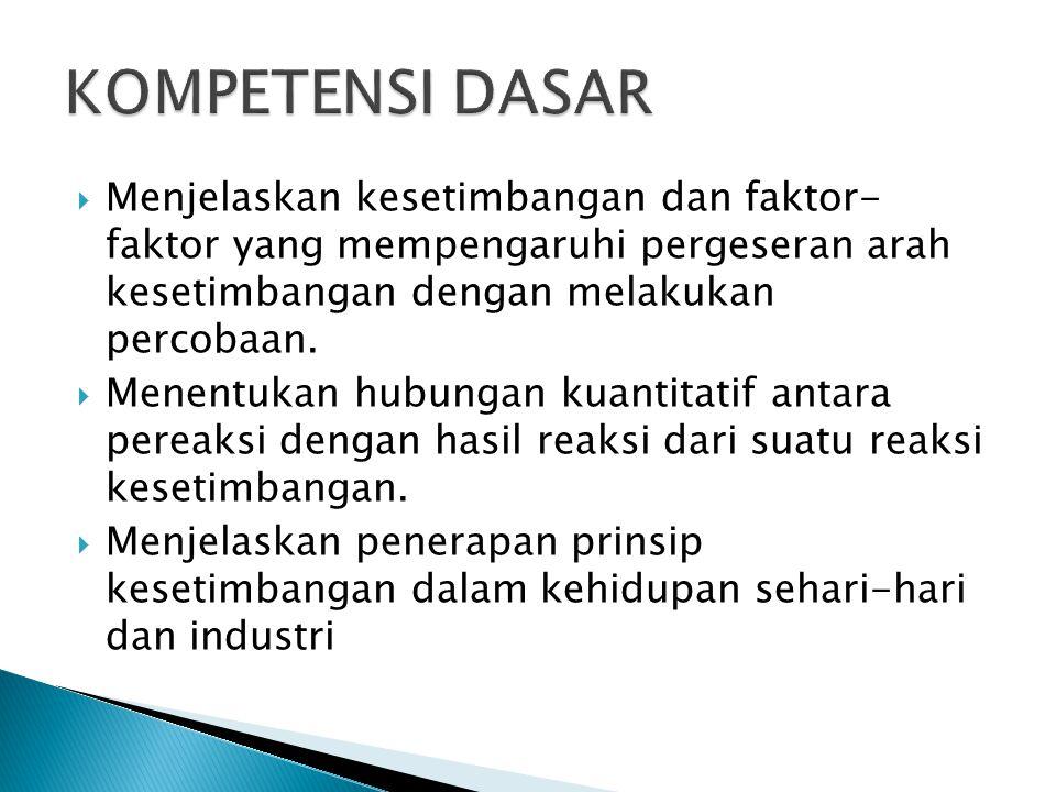 KOMPETENSI DASAR Menjelaskan kesetimbangan dan faktor- faktor yang mempengaruhi pergeseran arah kesetimbangan dengan melakukan percobaan.
