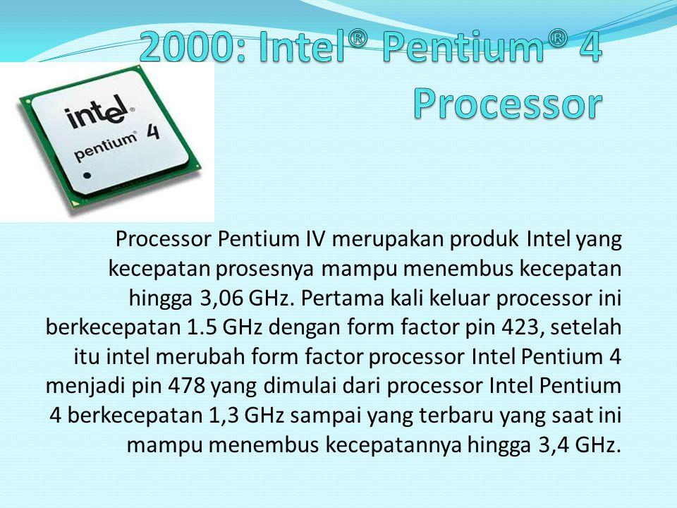 2000: Intel® Pentium® 4 Processor