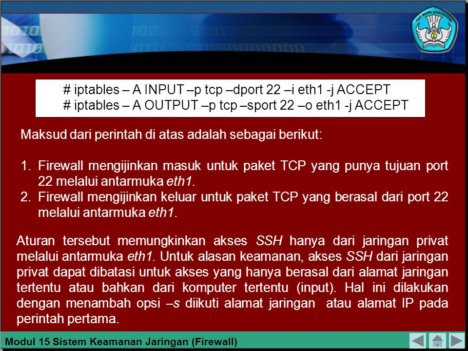 # iptables – A INPUT –p tcp –dport 22 –i eth1 -j ACCEPT