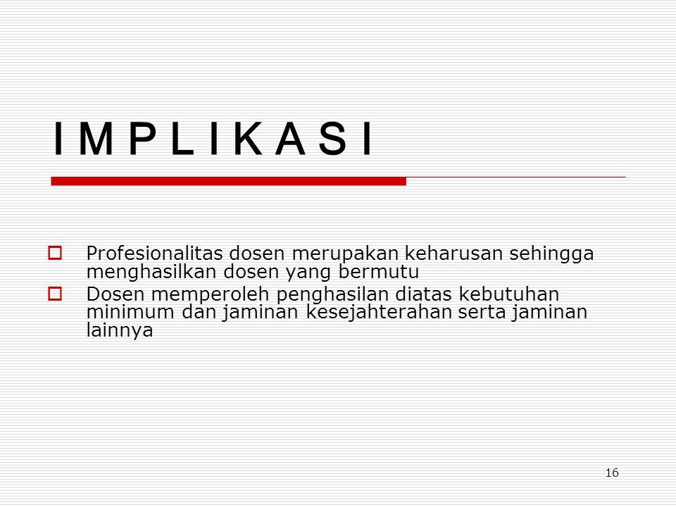 I M P L I K A S I Profesionalitas dosen merupakan keharusan sehingga menghasilkan dosen yang bermutu.