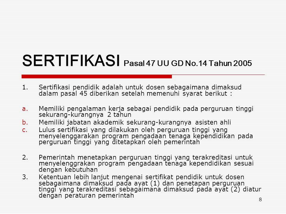 SERTIFIKASI Pasal 47 UU GD No.14 Tahun 2005