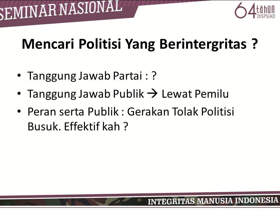Mencari Politisi Yang Berintergritas