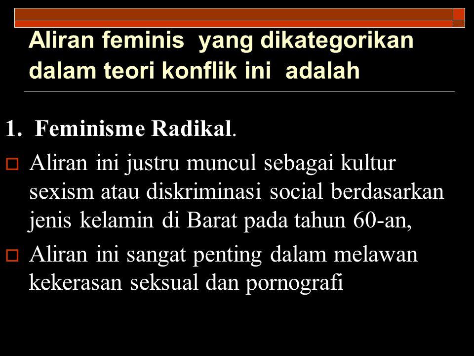 Aliran feminis yang dikategorikan dalam teori konflik ini adalah