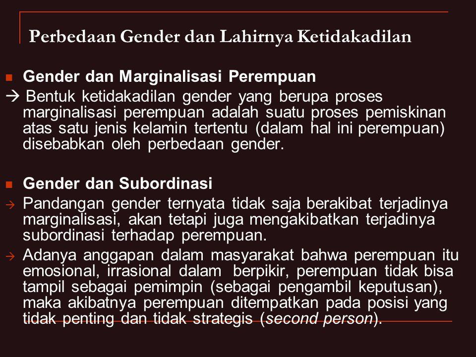 Perbedaan Gender dan Lahirnya Ketidakadilan